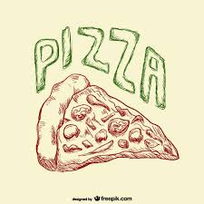 Pizza slice drawing Free Vector