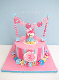 cute 3d pink owl birthday cake