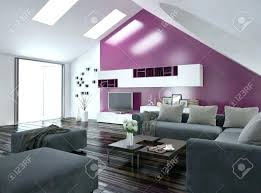 Purple Accent Wall Office Apartments Modern Apartment Living Room Interior With A Dining
