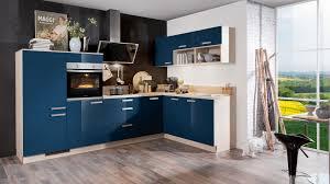 farbenfrohe l küche express mit front in hochglanz dunkelblau
