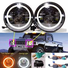 100 Hummer H3 Truck For T H2 H1 LED Halo Angel Eyes DRL Headlight H4H13 Hi