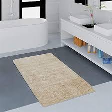 paco home moderner badezimmer teppich einfarbig microfaser kuschelig gemütlich in beige grösse 70x120 cm