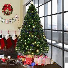 Costway 7 Pre Lit Fiber Optic Artificial Christmas Tree W 280 LED Lights