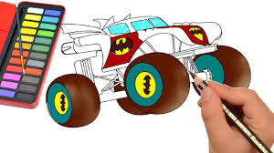 How To Draw Monster Truck - Color Monster Truck For Kids - Draw Easy ...