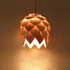 Modern Liontin Cahaya DIY Kayu Biji Pinus Lampu Gantung Dekorasi AC 90