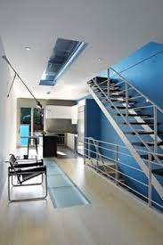 Love This Blue Accent Wall Behind Modern Open And Airy Stairs