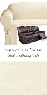 dual reclining sofa slipcover cotton cream adapted for recliner