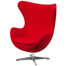 100 Contemporary Armchair Red Wool Fabric Egg Shaped Living Room Accent