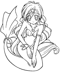 Baby Mermaid And Dolphin Coloring Pages Anime Printable