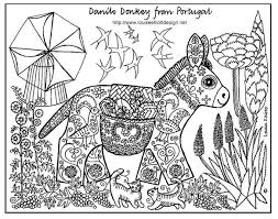 Free Coloring Page Adult Ane Patterns Drawing Of A Donkey With
