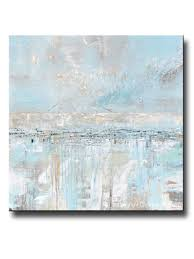 ORIGINAL Art Abstract Painting Textured Canvas Coastal Landscape Horizon Home Decor Light Blue Grey White X LARGE Wall 48x48