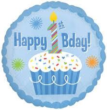 "1 1st Happy Birthday BOY Blue Polka Dots Cupcake 1 18"" Party"