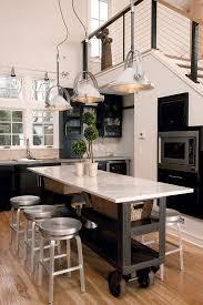 Gorgeous Kitchen Love These Light Fixtures And Retro Stools Rolling IslandKitchen