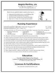 Resume Sample For Nurses Rn Template Examples Nurse Lpn
