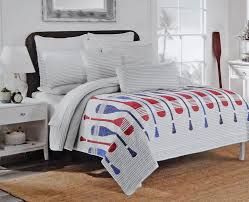 Max Studio Red Gray Blue Crew Rowing Oars Striped Quilt And Sham Set Rustic Vintage On A Beautiful White With Subtle