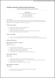 College Grad Resume Examples Graduate Communications Student Little Experience