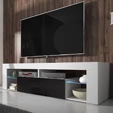 selsey bianko tv lowboard stehend in weiß matt schwarz hochglanz mit klappe und led beleuchtung 140 cm