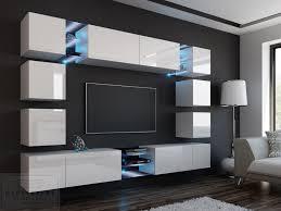 wohnwand edge weiß hochglanz weiß mediawand medienwand design modern led beleuchtung mdf hochglanz hängewand hängeschrank tv wand