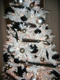 White Christmas Tree Ornaments With Black Silver And Gun Metal Colored