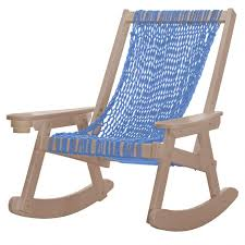 Pawleys Island Coastal DuraCord Patio Rope Rocking Chair - Coastal Blue -  Weatherwood Frame Redwood Outdoor Rocker Handcrafted Wooden Prairie Leisure Garden Chair Patio Fniture For The Home Winston Vintage Wicker Blue Cushions Planters Rocking Chairs Explore Photos Of Old Fashioned Showing 12 10 Best Rocking Chairs Ipdent Buy Look Used For Sale Chairish Art Epicenters Austin Darrow Set Two