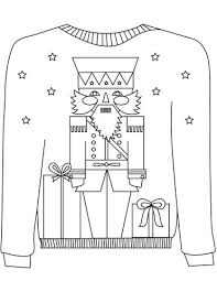 Christmas Ugly Sweater With The Nutcracker Motif Coloring Page