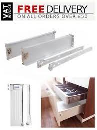 details zu kitchen metal drawer box sides kitchen roller runners all sizes white silver