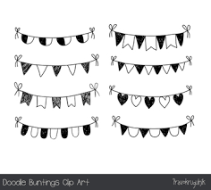 Hand drawn doodle buntings clipart Black and white birthday banner flag sketch