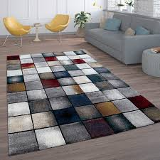 teppich wohnzimmer modern kurzflor vintage karo würfel muster grau creme rot blau