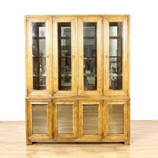 glass front fluted wood china cabinet display featured