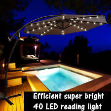 Solar Lighted Patio Umbrella by 8 Ft Square Outdoor Solar Powered 32 Led Cantilever Patio Umbrella
