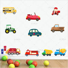 Hot Sale Cartoon Trucks Tractors Cars Color Wall Stickers For Kids ...