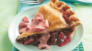 Apple Blueberry Pie with Strawberry Sauce