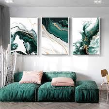 moderne abstrakte gold folie linien grün leinwand kunst gemälde für wohnzimmer schlafzimmer poster und drucke wand poster wohnkultur