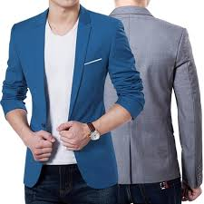 New Mens Slim Fit Stylish Formal Casual One Button Suit Blazers
