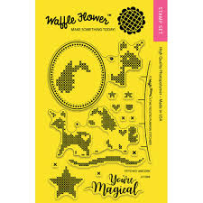 Frosted Pumpkin Stitchery Kit by Waffle Flower Crafts Stitched Unicorn Stamps