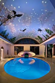 Fantasy Indoor Swimming Pool With Sky Mural Roof And Ceramic Floor Deck For House Design Ideas Uncategorized Amazing Swimmin