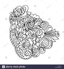 Banque Dimages Mandala Noir Blanc Isolé Ornement De LInde Tribal Oriental Ou Arabe Pour Les Coloriages Impression De Décor De Plumes De Paon Coloriage Tribal A Imprimer