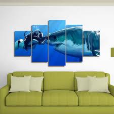 Shark Diver Canvas Wall Art