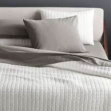 Grid White Cotton Jersey Bedding