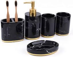 luxuriöses badezimmer set weiß schwarz seifenschale