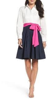 Womens Eliza J Poplin Satin Dress