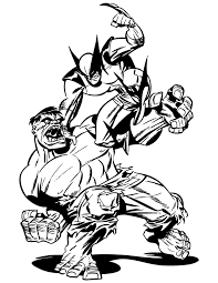 Incredible Hulk Fighting With Wolverine Coloring Page