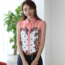Korean Fashion Women Chiffon Tops Fit Shirt Casual Tee Sleeveless Printed Blouse