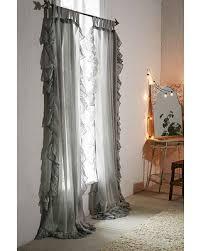 spectacular deal on plum bow ruffle gauze curtain grey 52x84