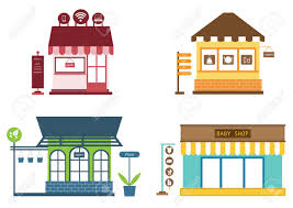 Stores And Shops Icons Set With Clothes Store Stock Vector