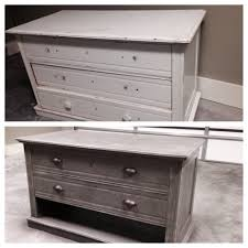 DIY Dresser refurbished into TV stand I love the grey distressed
