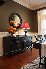 Black Dining Room Credenza Cabinets Buffet Table Sideboard Tables Red Lamp Shade Two