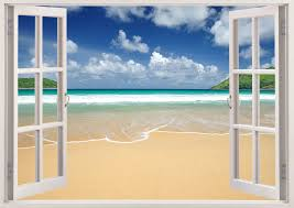 Wall Mural Decals Beach by 3d Window Frame Peel And Stick Mural Wall Art Beach Scene Wall