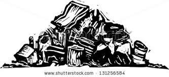 Black and white vector illustration of trash