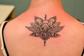 Unique Black And White Lotus Tattoo On Girl Upper Back